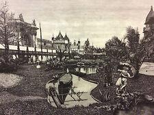 Exposition Universelle Paris 1889 les jardins de l'exposition coloniale estampe