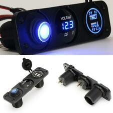 12V Compact Dual USB Car Charger Voltage Gauge LED Rocker Switch Custom Socket