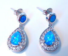 GORGEOUS BLUE FIRE OPAL   EARRINGS
