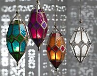 Moroccan style~Large hanging glass lantern tealight holder with LED light