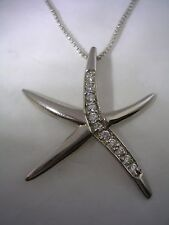 STARFISH PENDANT WITH  CUBIC ZIRCONIA & HIGH POLISHED FINISH IN STERLING SILVER