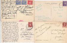 Lot 4 cartes postales timbrées timbres état français 1942-1943 Maréchal PETAIN 5