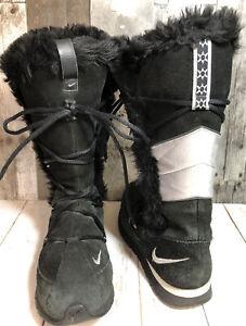 Nike Women's Faux Fur Trim Suede Black & Silver Snowboots Size 6.5