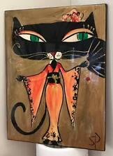 Sharon Peterkin Hand Painted Wall Tile: Cat In A Kimono - 33cmx25cm