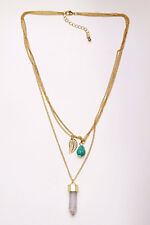 SUBTLE GOLD TONE TRIPLE CHAIN LAYERED NECKLACE RESIN/LEAF/BEAD PENDANT (CL26)