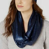 INC International Concepts liquid shine metallic loop women's scarf NAVY BLUE