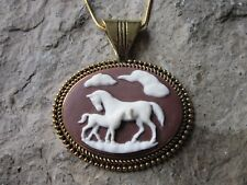 HORSE AND FOAL CAMEO GOLD PLATED NECKLACE - WHITE ON BROWN - QUALITY - PONY