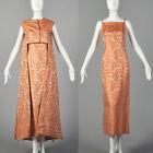 S 1960s Coral Dress Set Pink Paisley Brocade Long Maxi Vest Evening Gown 60s VTG