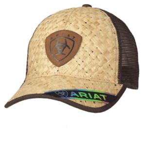 Ariat Mens Hat Baseball Cap Mesh Snap Back  Patch Straw Tan A300010508