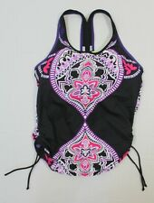 Athleta S tankini swim top style 819804 Black and Floral print