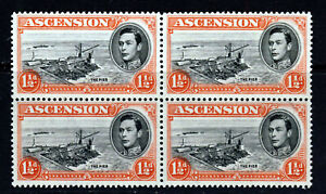 ASCENSION King George VI 1938 1½d Black & Vermilion P13½ BLOCK OF FOUR SG 40 MNH