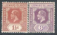 Leeward Islands1921 brown 1.5d purple 6d reversion to Die I mint SG84/86