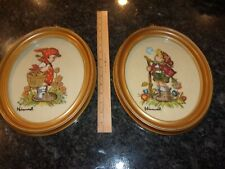 Vintage Embroidery Hummel Oval Framed Set Of Two Wall Decor.