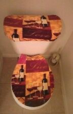 Live, Love & Laugh Wine Club Fleece Toilet Seat Cover Set Bathroom Accessories
