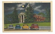 """TOCCOA, GA"" - Night-time view of Stephens County Court House - shows Autos/Cars"