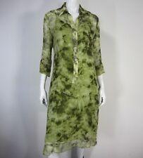 Dress Poleci 3/4 sleeve lined Silk tunic dress size L Large large green