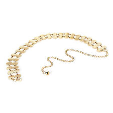 LADIES RETRO BOHO GYPSY STYLE TWO ROW ROUND DISCS CHAIN LINK BELT GOLD COLOUR