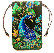 """Midnight Plumes Peacock Tarot Bag 5""""x7"""" Drawstring Pouch Crystals Jewelry"""