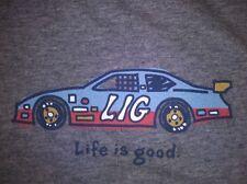 """LIFE IS GOOD Gray Tee Shirt SS Sz S LIG Race Car Soft EUC 41"""" chest"""