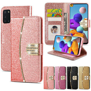 Case For Samsung A21s A51 A71 A10 S20 Luxury Glitter Leather Flip Wallet Cover