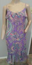 Emanuel Ungaro Paris Purple Paisley Print 100% Silk Slip Dress 34