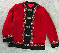 A S Evebofoss Sweater Jacket Sz M Red Nordic Wool Cardigan Lined Norway Vintage