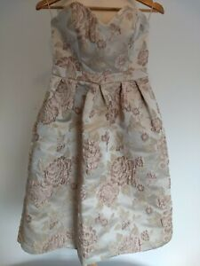 BNWT Fai Cotton Strapless Dress Size 10 Prom Floral Christmas Ball Wedding