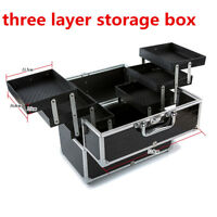 Large Cosmetic Organizer Box Make Up Case Lockable Containing Storage Box US
