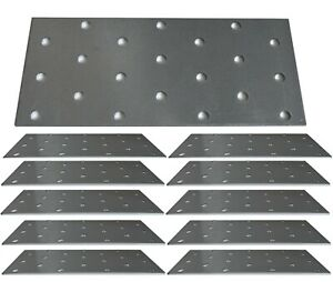 12 x Flat Joining Metal Plates Brackets For Wood Garden Sleepers l 140 x 60x 2mm