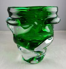 Art Glass Green Cased In Clear Modern Large Vase Textured