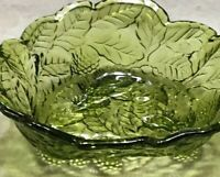 Vintage Indiana Glass Loganberry Raised Berries & Leaves Green Candy Dish Bowl