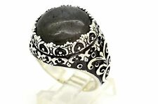 HANDMADE ROUND GREEN RIVER AGATE 925 STERLING SILVER MEN'S WOMEN'S RING SIZE 10