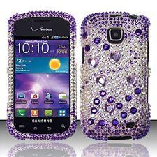 Samsung Galaxy Proclaim Crystal Diamond BLING Case Phone Cover Purple Silver