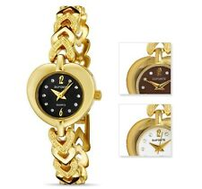 NewDufonte by Lucien Piccard Hearts Collection Gold Plated Ladies Watch Heart*