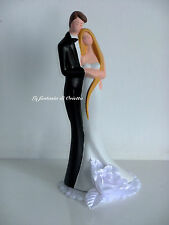 Cake topper SPOSI ABBRACCIATI matrimonio nozze porcellana decorazione torta