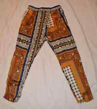 Zara Basic Harem Baroque Pants Small S Paisley Blue Gold Boho Medusa 29 X 26