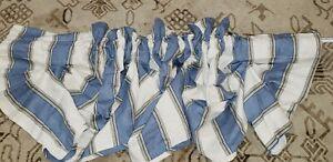 "2pc Excellent Waverly Amanda Valance Melrose Stripe Blue 79"" x 16"" Cottage"