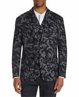 Tallia Mens Blazer Jacket Black Gray Medium M Knit Camo Leopard-Print $198 103