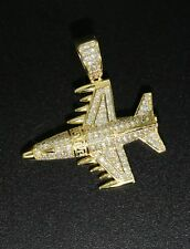 Solid 925 Sterling Silver GP CZ Micro Pave Setting Plane Pendant + Chain