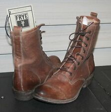 FRYE CARSON LUG LACE UP US 8 Woman's Military Style Boot Cognac