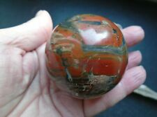 Red/bressicated Jasper Gemstone sphere with  stand 59 mm 205 grms