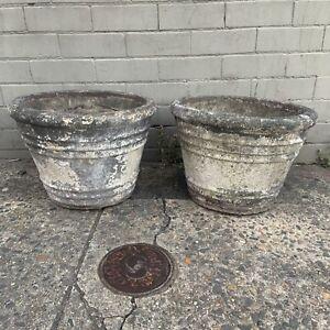 Pair of Vintage rustic Concrete planter pots w patina