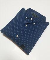 Banana Republic Slim Fit Soft Wash Stretch Print Shirt Blue New Sz L LARGE
