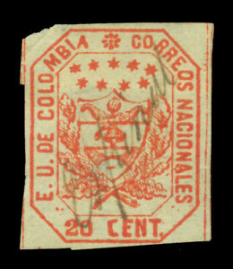 """COLOMBIA 1863 Coat of Arms 20c red  Scott# 26 used  """"ESPINAL"""" cancel"""