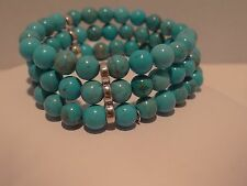 Artisan Crafted 3-Strand Blue Turquoise Stretch Bracelet