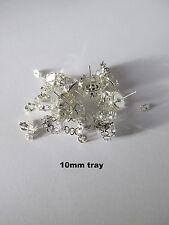 10pr of 10mm stud earring cameo bezel settings + glass jewellery making craft UK