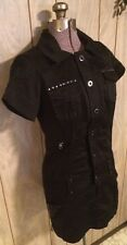 Guess M Black Dress NEW $118 Sexy Studded Rare Military Stretch Mini Marciano