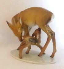 Rosenthal Mother & Fawn Deer Figurine Kunstabteilung Selb Handgemalt Germany Vtg