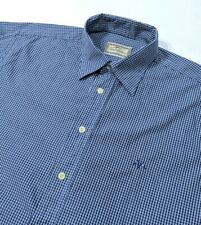 Thomas Burberry Mens Shirt Navy Blue Gingham Check Button Cuff Size M