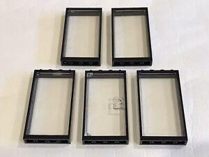 5 x Lego Door / Window Frame 1 x 4 x 6 Black With Glass Inserts - P/N 60596